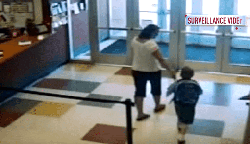 Amy Pitzen with Timmothy leaving the school. | Source: YouTube/ True Crime Daily