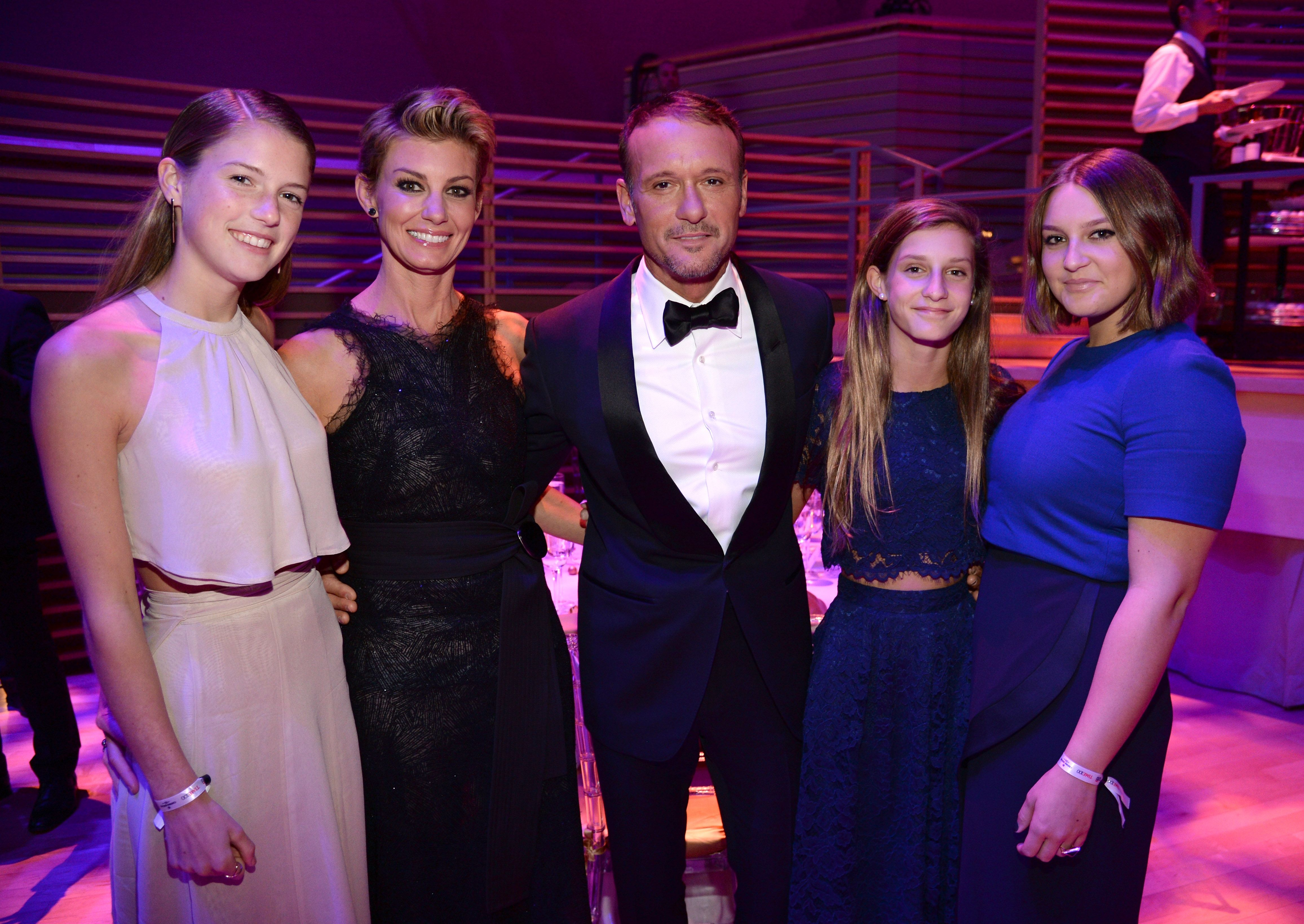 Gracie McGraw, Faith Hill, Tim McGraw, Audrey McGraw and Maggie McGraw at TIME 100 Gala, TIME's 100 Most Influential People In The World at Jazz at Lincoln Center on April 21, 2015 | Photo: Getty Images