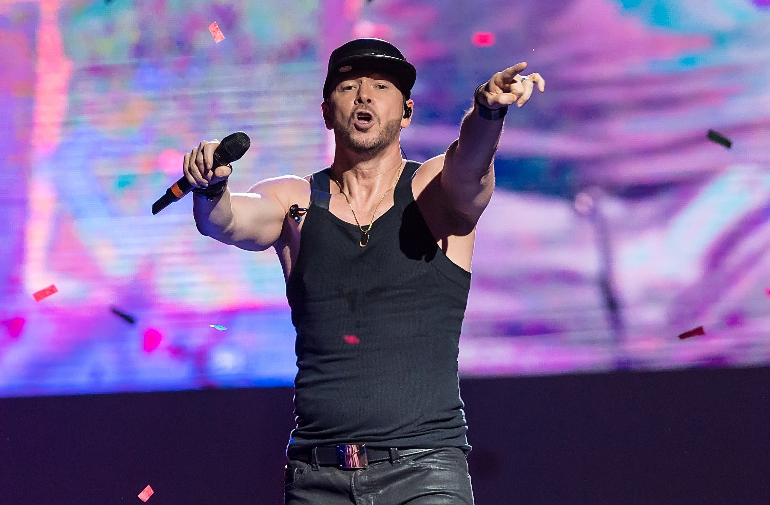 "Donnie Wahlberg performs with New Kids on the Block during ""The Total Package"" tour in Philadelphia, Pennsylvania on June 24, 2017 