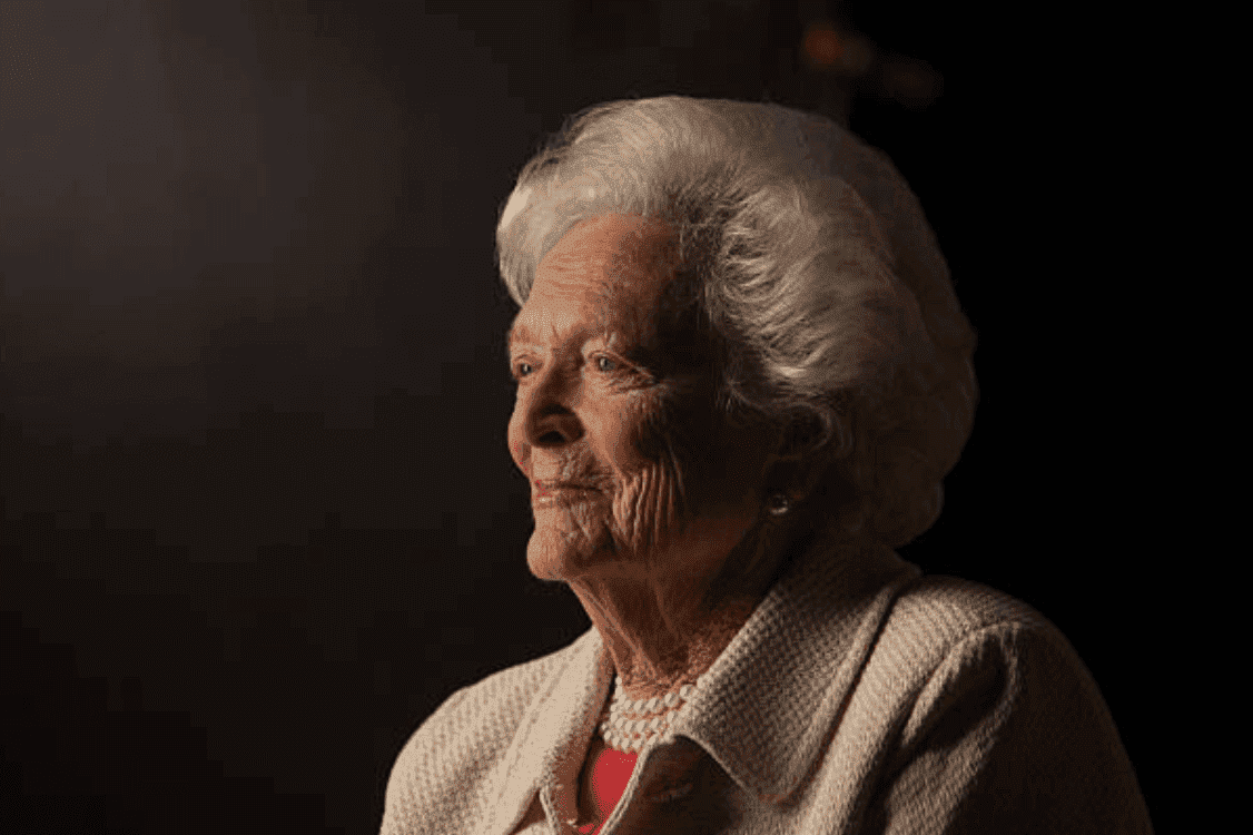 "Barbara Bush poses as she is interviewed for ""The Presidents' Gatekeepers"" at the Bush Library, on October 24, 2011, in College Station 