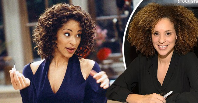 """Karyn Parsons as Hilary Banks on """"The Fresh Prince of Bel-Air,"""" and a photo of the actress at an event 