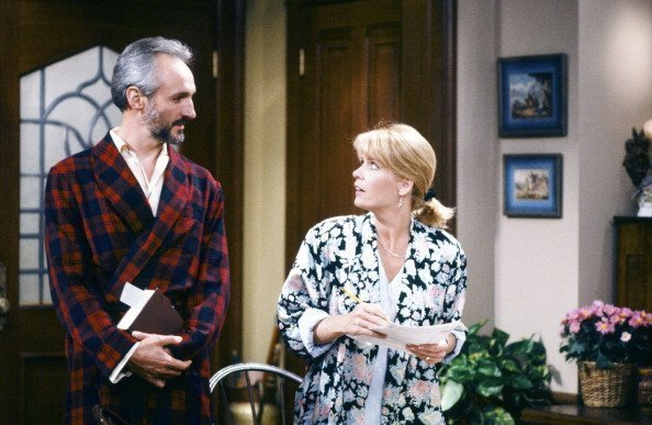 "Michael Gross as Steven Keaton, Meredith Baxter as Elyse Keaton on ""Family Ties"" 