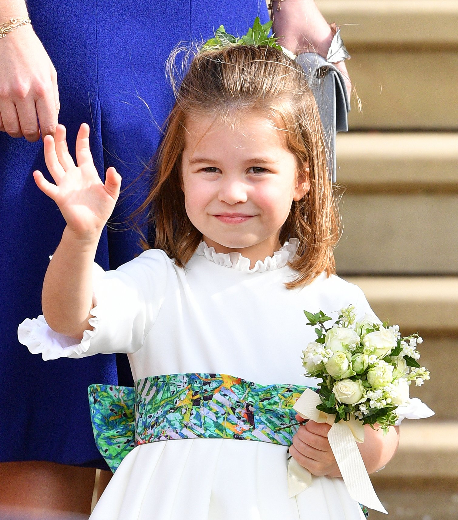 La princesa Charlotte en la boda de la princesa Eugenia y Jack Brooksbank en la capilla de San Jorge el 12 de octubre de 2018 en Windsor, Inglaterra. | Fuente: Getty Images