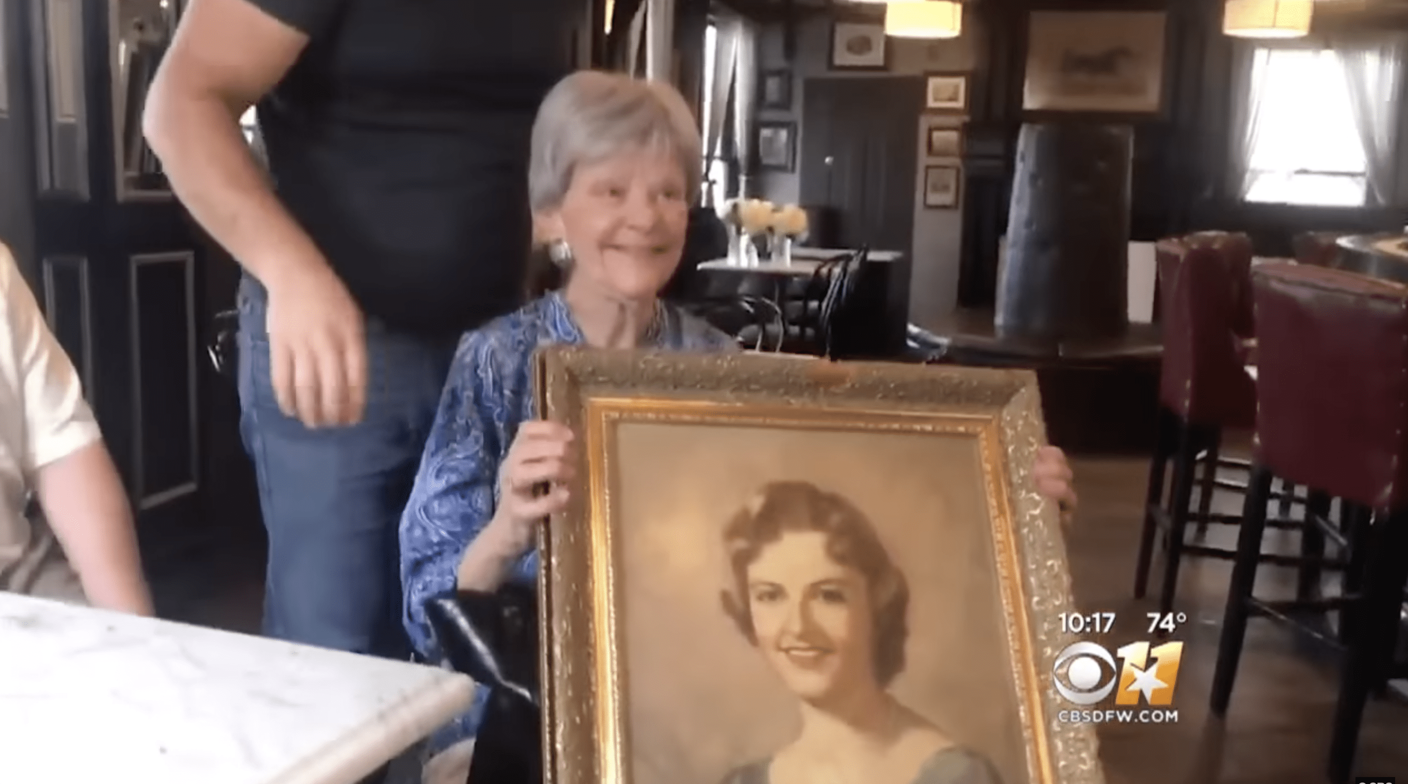 Betsy was finally reunited with her long-lost self-portrait thanks to her daughter, Ryan.   Photo: YouTube.com/CBSDFW