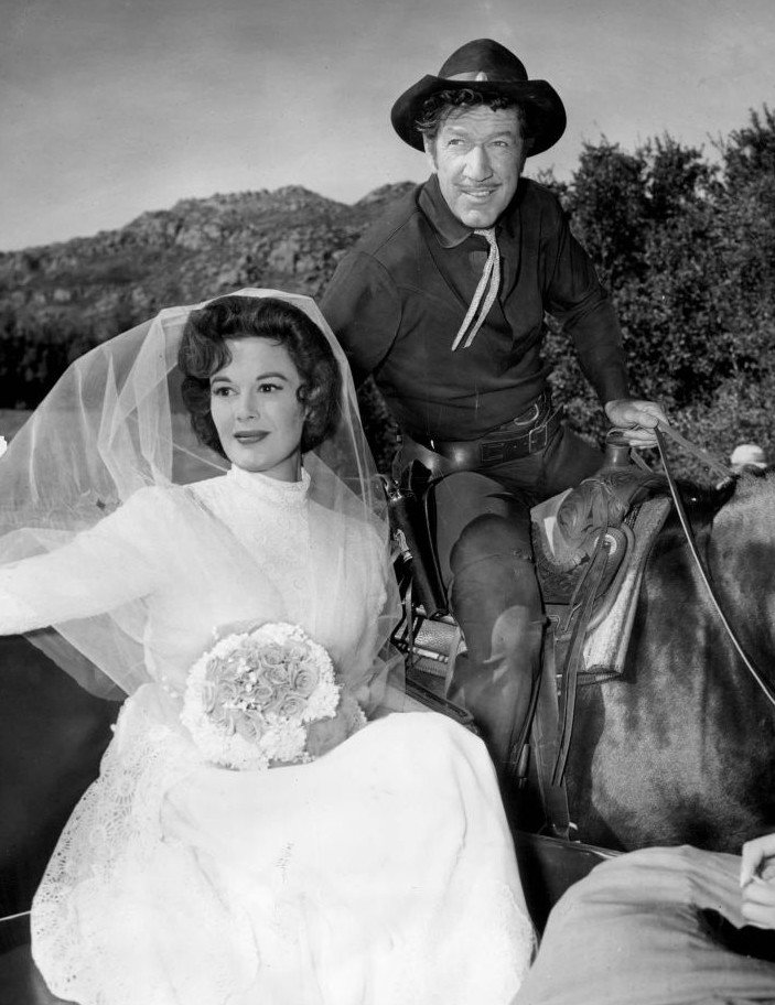 "Richard Boone as Paladin and guest star Patricia Medina from the television program ""Have Gun, Will Travel"" on January 30, 1959 