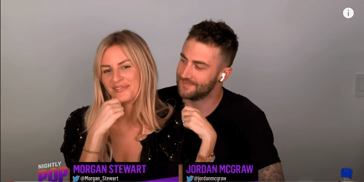 """Morgan Stewart and Jordan McGraw on her show """"The Nightly Pop,"""" August, 2020. 