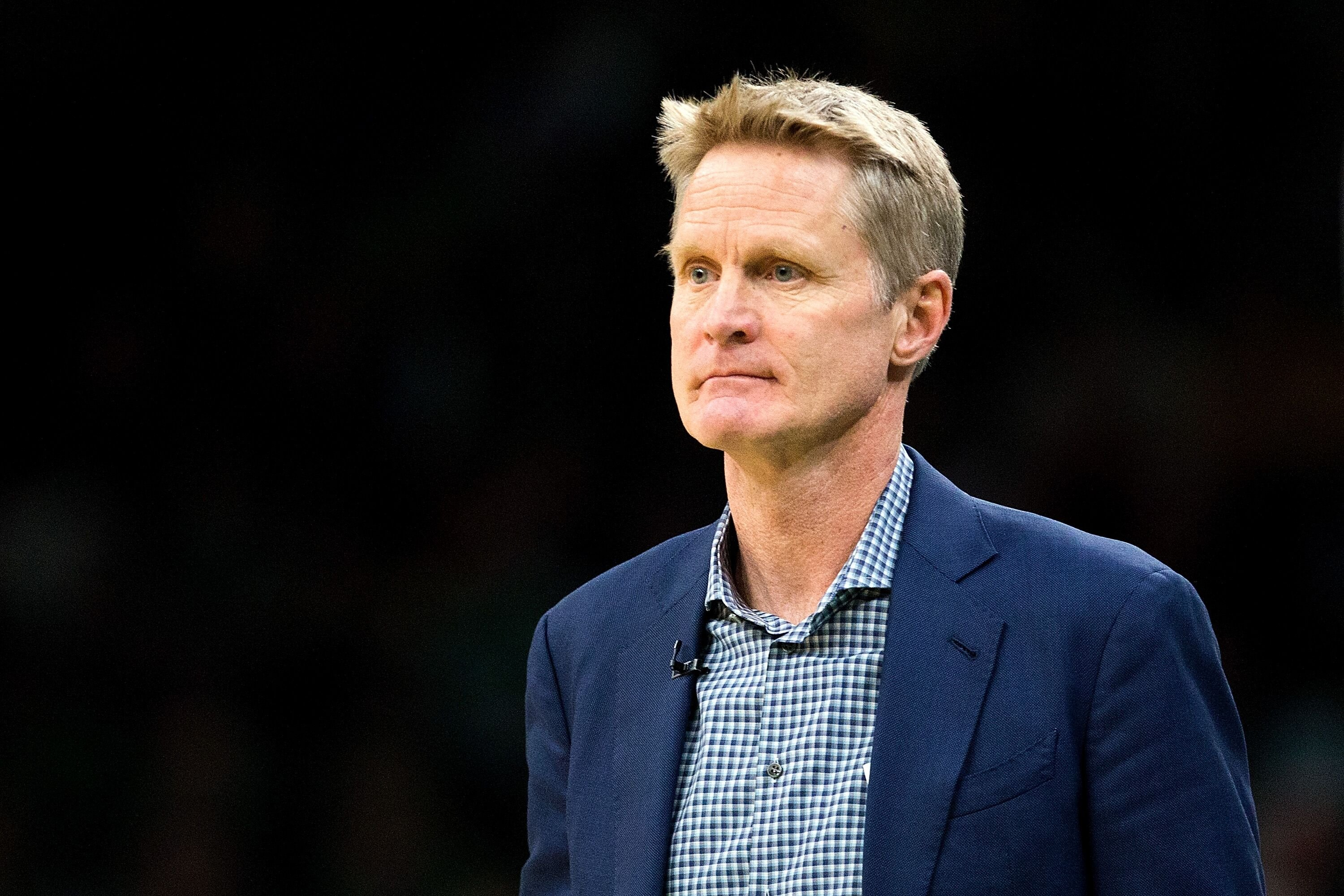 Steve Kerr of the Golden State Warriors at a game against the Boston Celtics in 2019 in Boston | Source: Getty Images