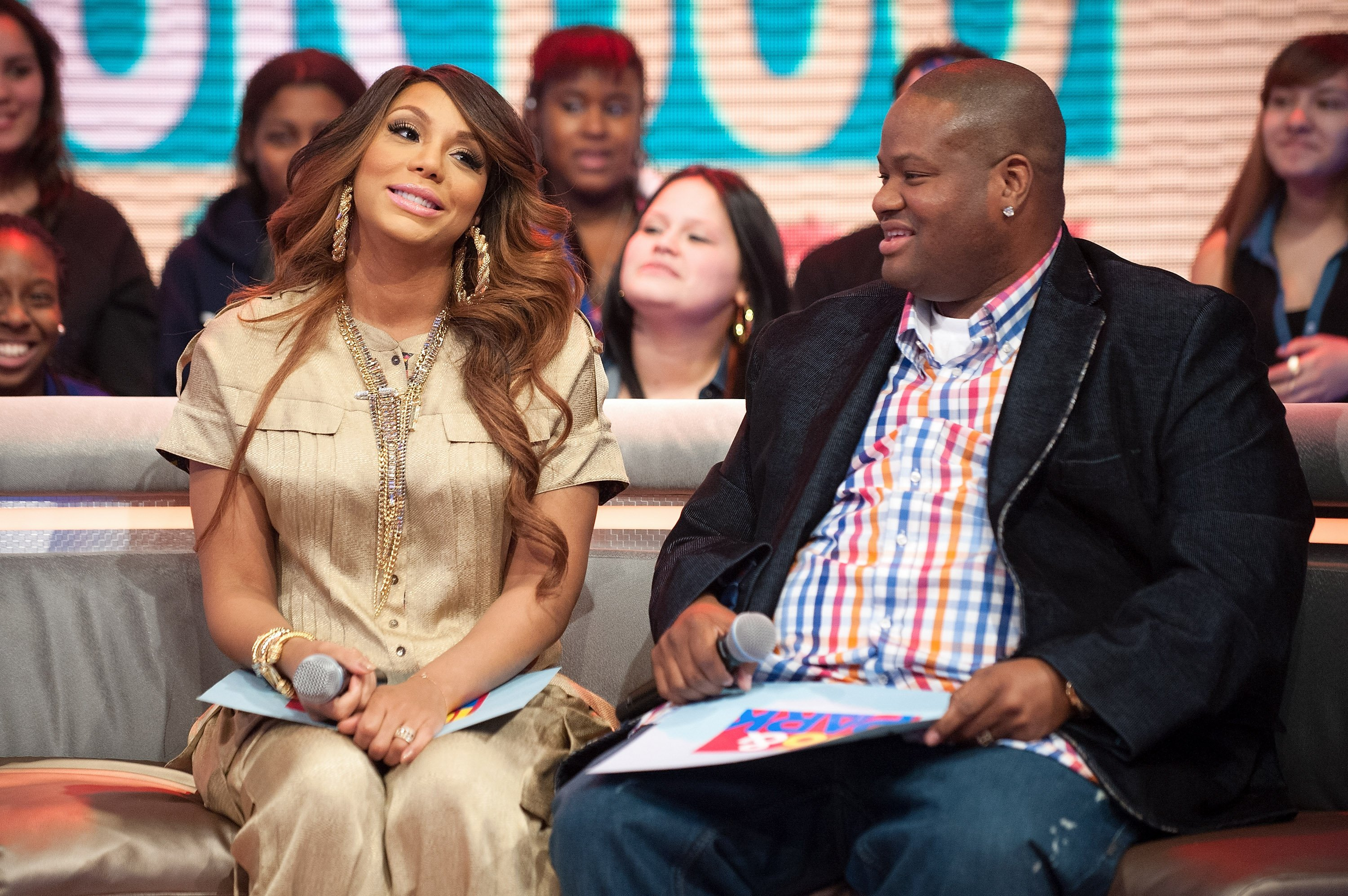 Tamar Braxton and Vincent Herbert visit BET's '106 & Park' at BET Studios on February 13, 2013. | Photo: GettyImages