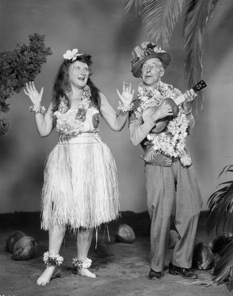 "Promotional portrait of Marjorie Main and Percy Kilbride as the titular characters in ""Ma and Pa Kettle at Waikiki"" in 1955. 