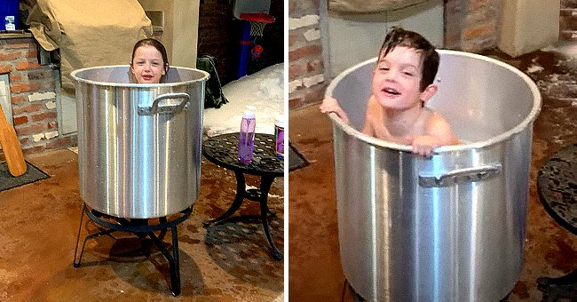 Photo of a young child in a big crawfish pot   Photo: youtube.com/Katc3