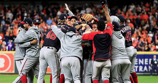 Washington Nationals team members celebrating their win   Photo: Getty Images