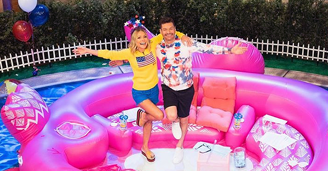 Kelly Ripa and Ryan Seacrest Celebrate America's Birthday in a Giant Inflatable Flamingo Float