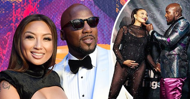 Jeannie Mai and Jeezy at Tyler Perry Studios grand opening gala on October 05, 2019, and on the right, a photo of the couple at a birthday party | Photo: Getty Images   instagram.com/thejeanniemai