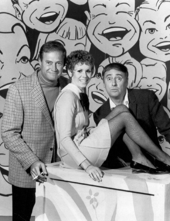 "Publicity photo of Dan Rowan, Dick Martin, and Judy Carne as she joins the Rowan & Martin's ""Laugh-In"" cast. 