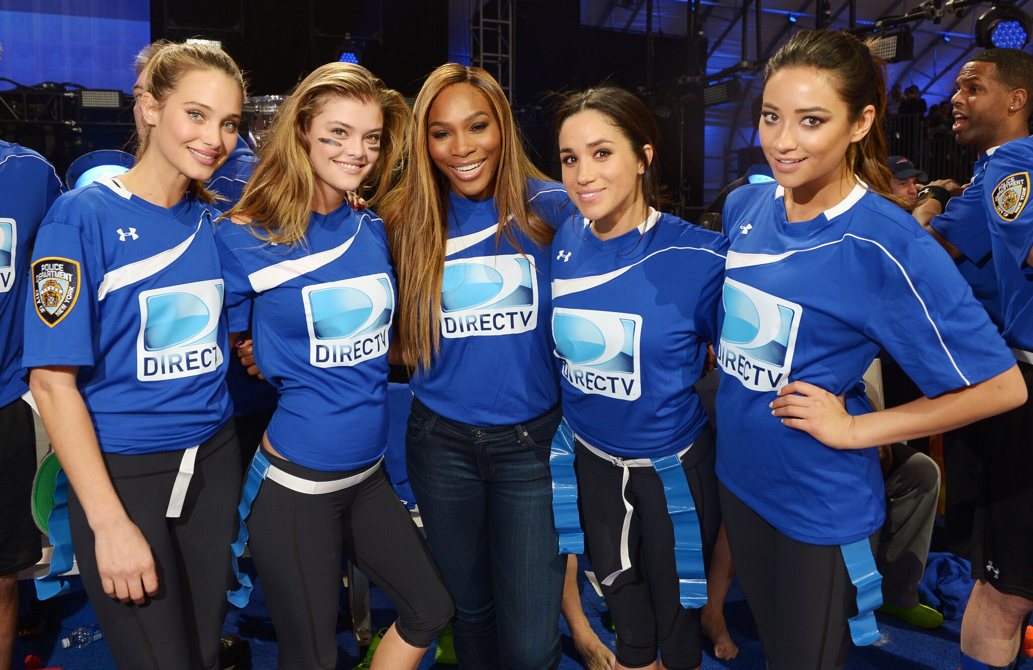 Hannah Davis, Nina Agdal, Serena Williams, Meghan Markle and Shay Mitchell participate in the DirecTV Beach Bowl at Pier 40 on February 1, 2014 | Getty Images