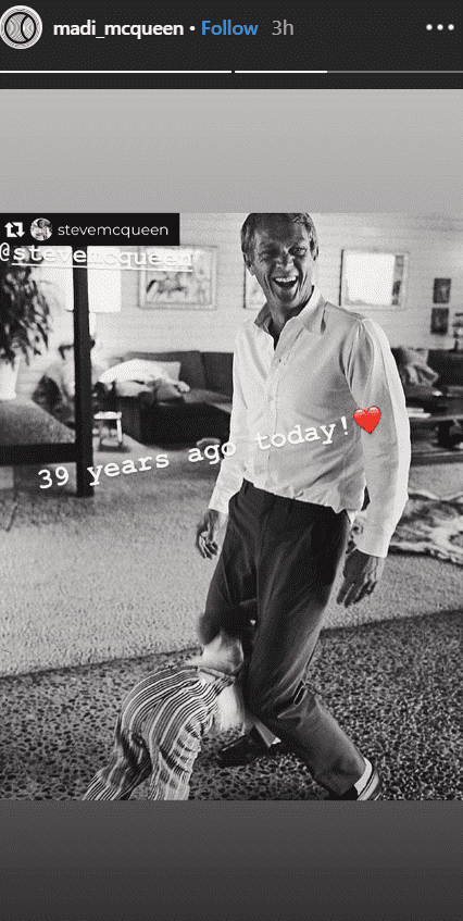 Madison McQueen share a throwback picture of her grandfather, Steve McQueen for the 39th year anniversary of his death | Source: instagram.com/madi_mcqueen