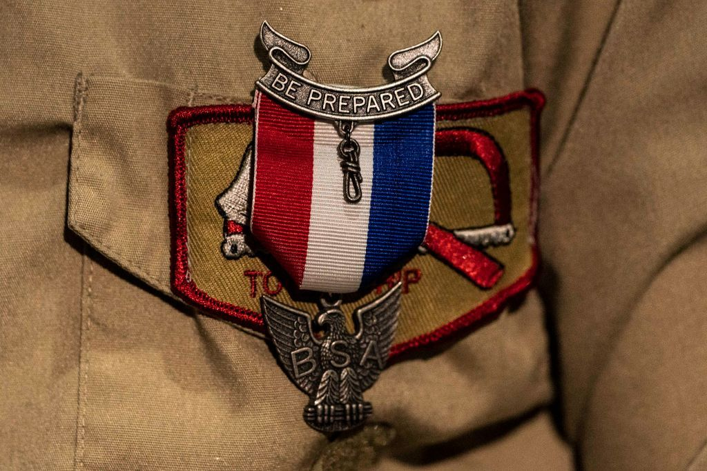 An Eagle Scout Award pinned to a female Scouts uniform during a ceremony recognizing the inaugural class of female Eagle Scouts at the Creighton Scouting Center, home of the Pacific Harbors Council of the Boy Scouts of America in Tacoma, Washington   Photo: David Ryder/Getty Images