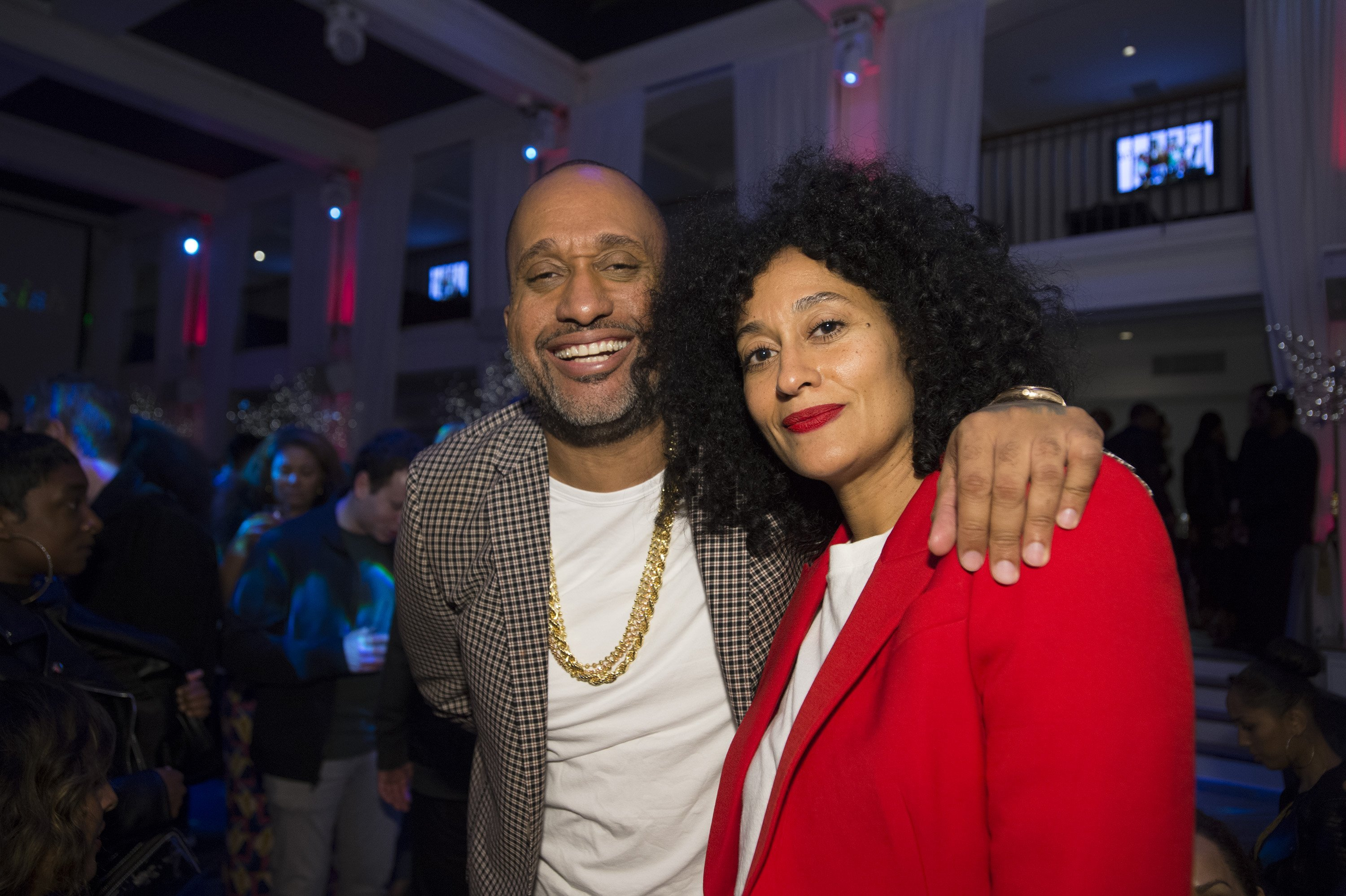 "Tracee Ellis Ross & Kenya Barris at a wrap party celebrating the end of ""Black-ish"" season four on March 13, 2018 in California 