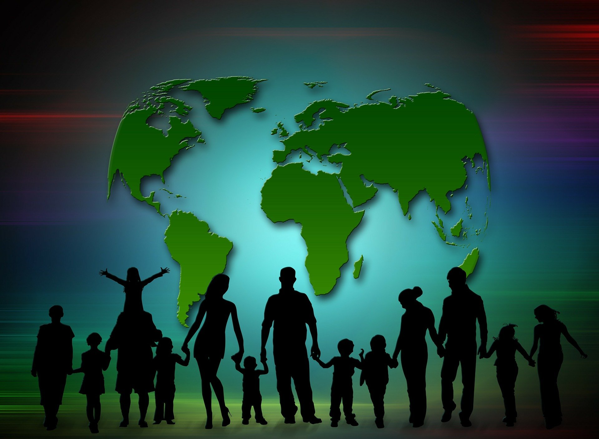 Illustration of parents and children coming together worldwide. | Source: Pixabay.
