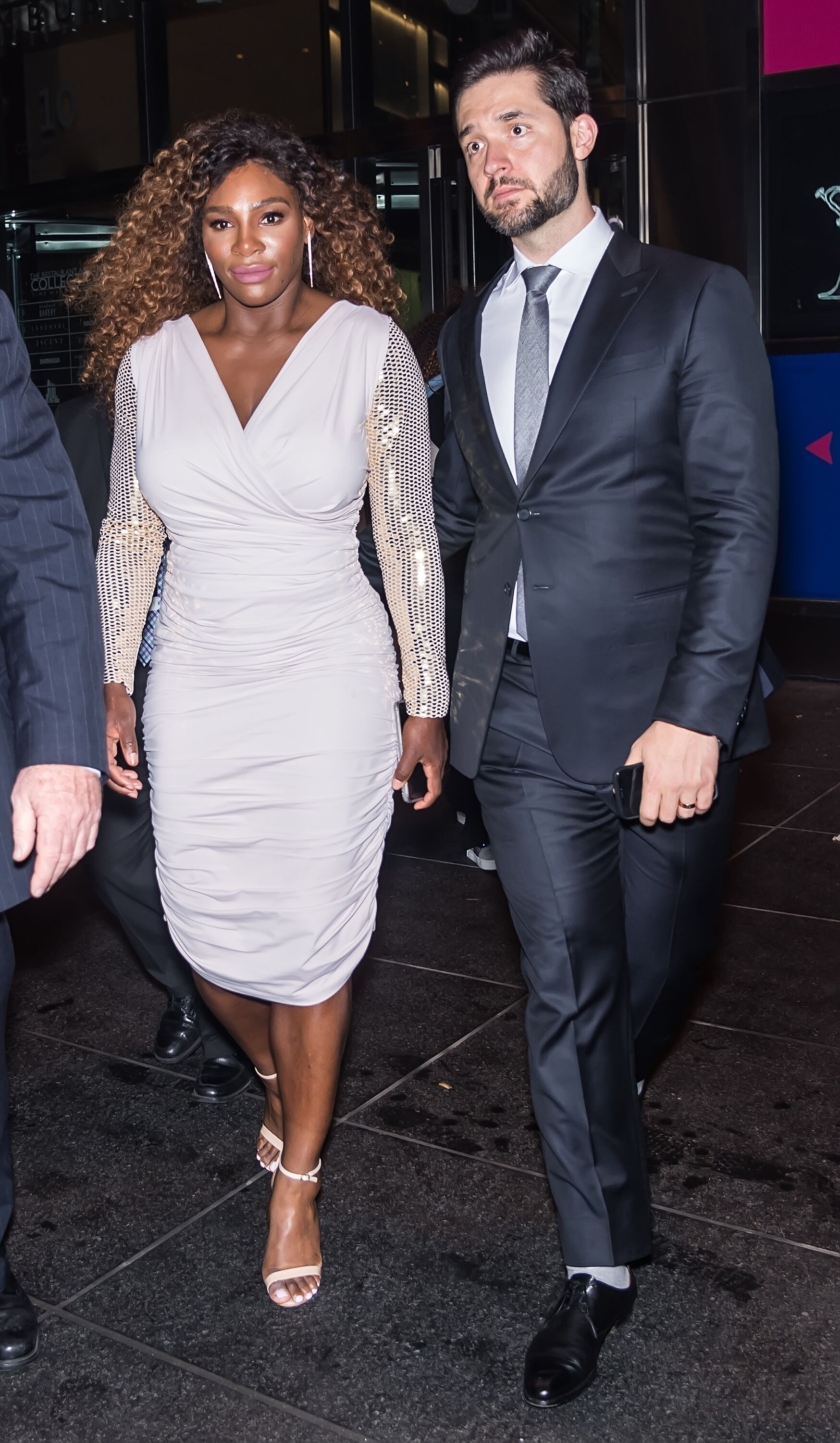Serena Williams and Co-Founder of Reddit Alexis Ohanian are seen leaving the HBO documentary series premiere of 'Being Serena' at Time Warner Center on April 25, 2018 in New York City. | Source: Getty Images