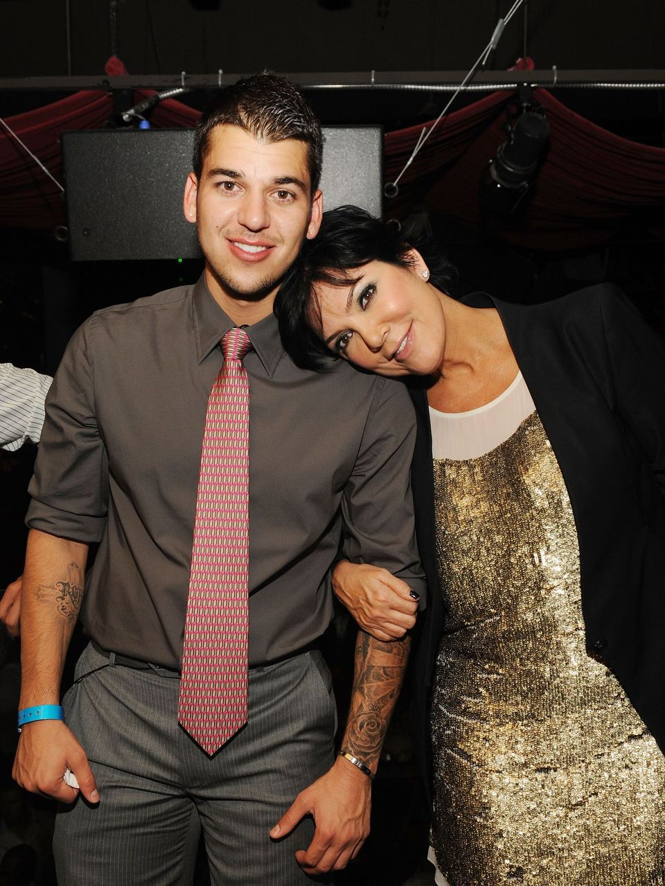 Rob Kardashian and Kris Kardashian during a night out at TAO Nightclub at the Venetian on October 16, 2009 in Las Vegas, Nevada.   Source: Getty Images
