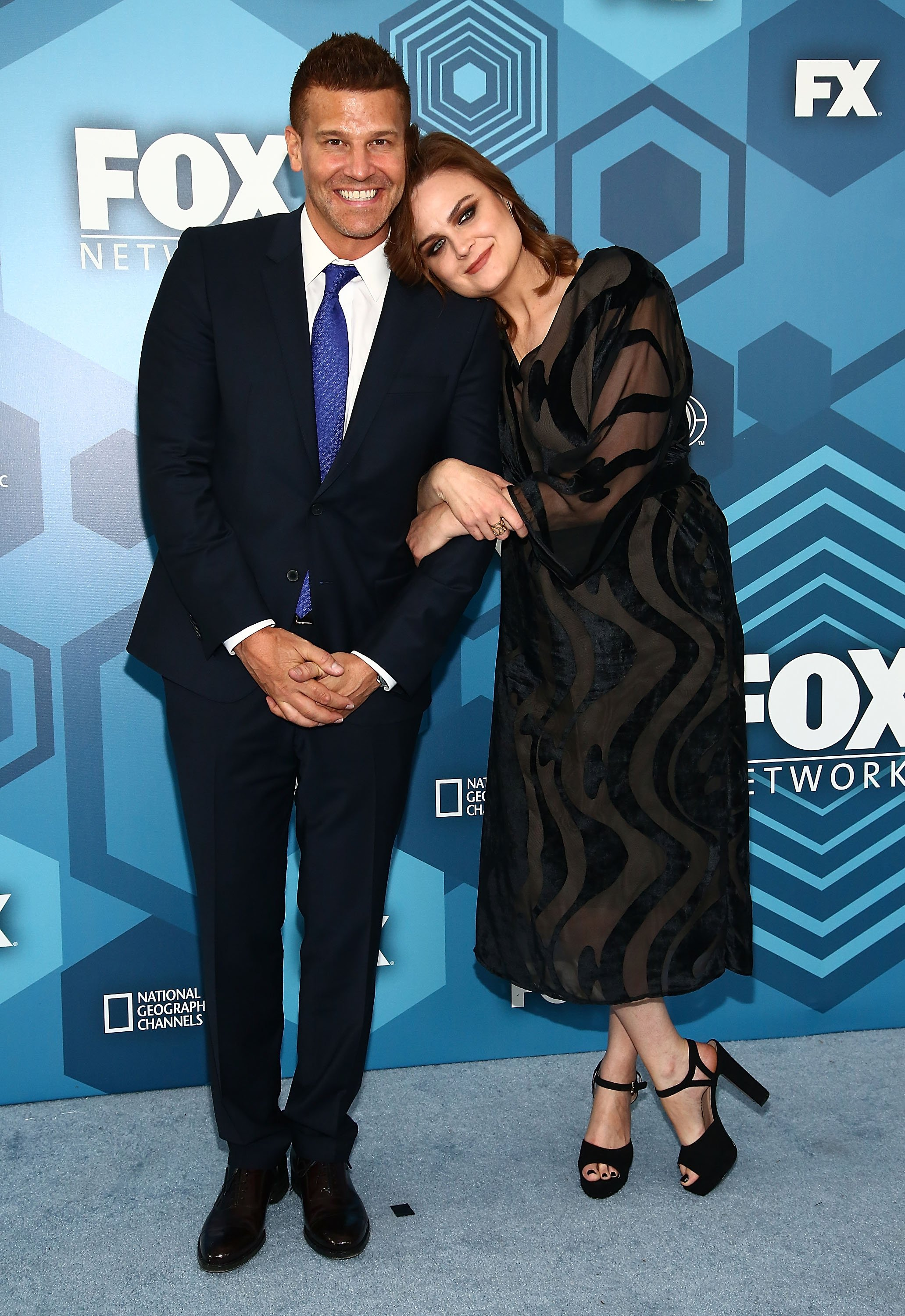 David Boreanaz and Emily Deschanel attend FOX 2016 Upfront Arrivals at Wollman Rink, Central Park on May 16, 2016, in New York City. | Source: Getty Images.
