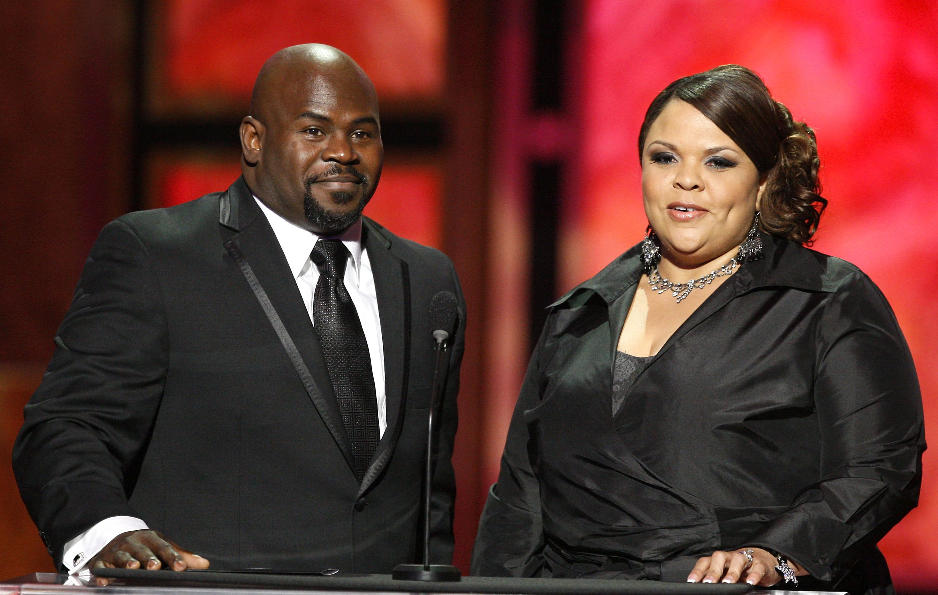 """""""Madea's Farewell Tour"""" cast members Tamela and David Mann onstage 