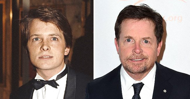 Michael J. Fox at the Hollywood Women's Press Club's 46th Annual Golden Apple Awards in 1986 and Actor Michael J. Fox attends the 2019 A Funny Thing Happened On The Way To Cure Parkinson's at the Hilton New York in 2019