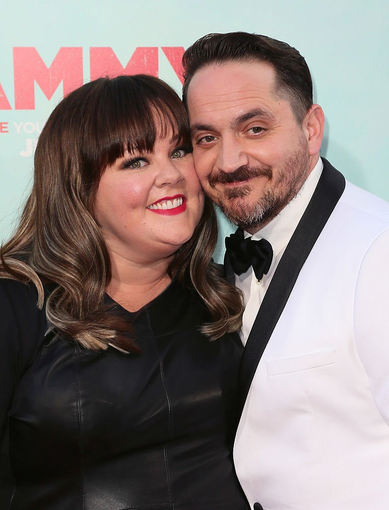 "Melissa McCarthy and husband director Ben Falcone attend the premiere of Warner Bros. Pictures' ""Tammy"" at TCL Chinese Theatre on June 30, 2014 in Hollywood, California 