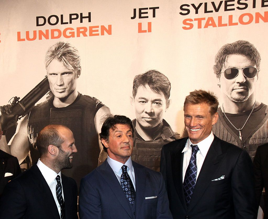"""Sylvester Stallone, Jason Statham and Dolph Lundgren attend the Germany Premiere of """"The Expendables"""" at the Astor Film Lounge movie theater on August 6, 2010 in Berlin. 