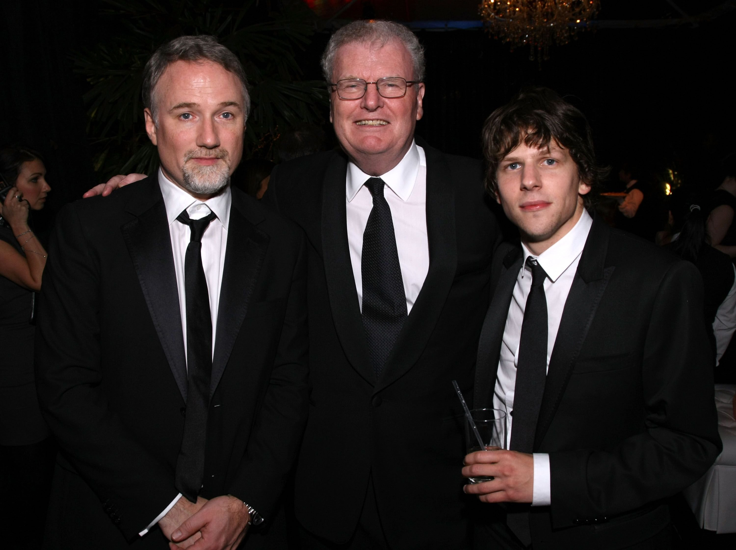 David Fincher, Sir Howard Stringer and actor Jesse Eisenberg at 68th Annual Golden Globe Awards Party held in 2011 in Beverly Hills   Source: Getty Images