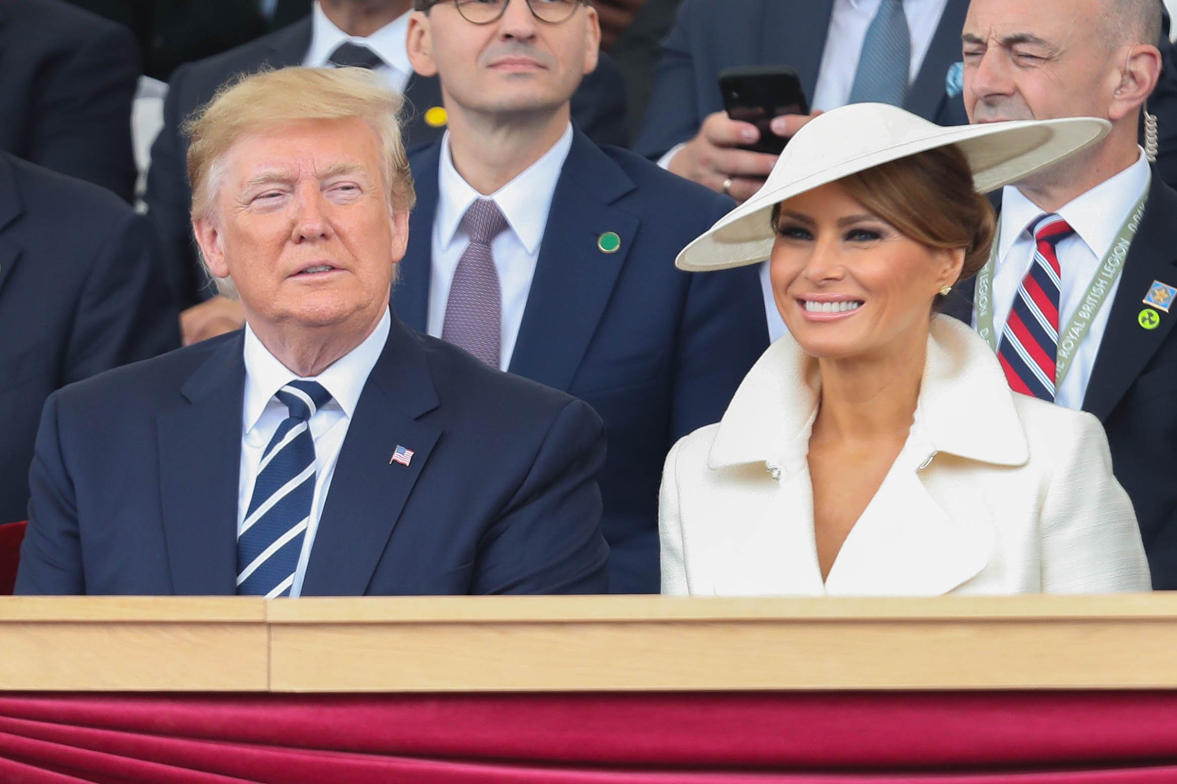 President Trump and Melania Trump at the D-Day Commemorations on June 5, 2019 in Portsmouth, England.   Photo: Getty Images