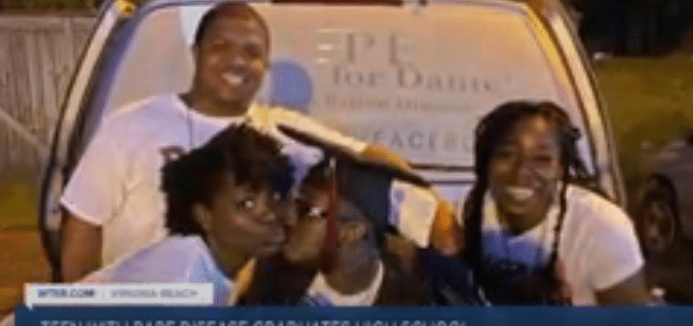 Dante with his family after hs graduation  Source: YouTube: WTKRNews
