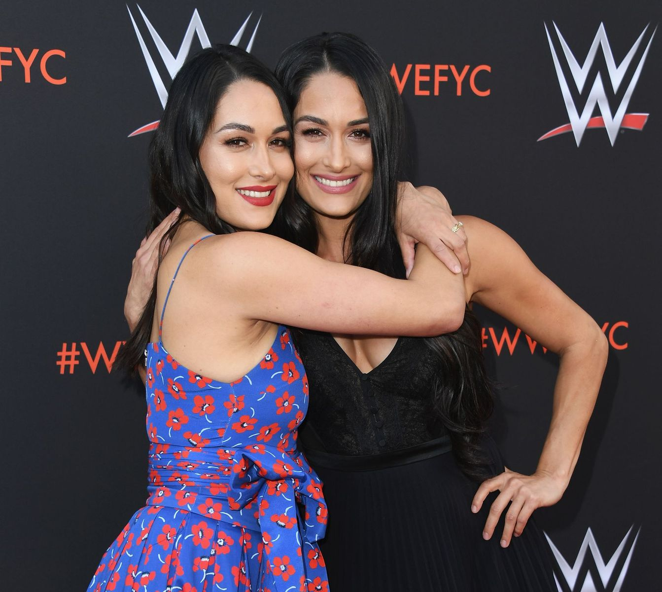 "Brie and Nikki Bella at WWE's first-ever Emmy ""For Your Consideration"" event on June 6, 2018. 
