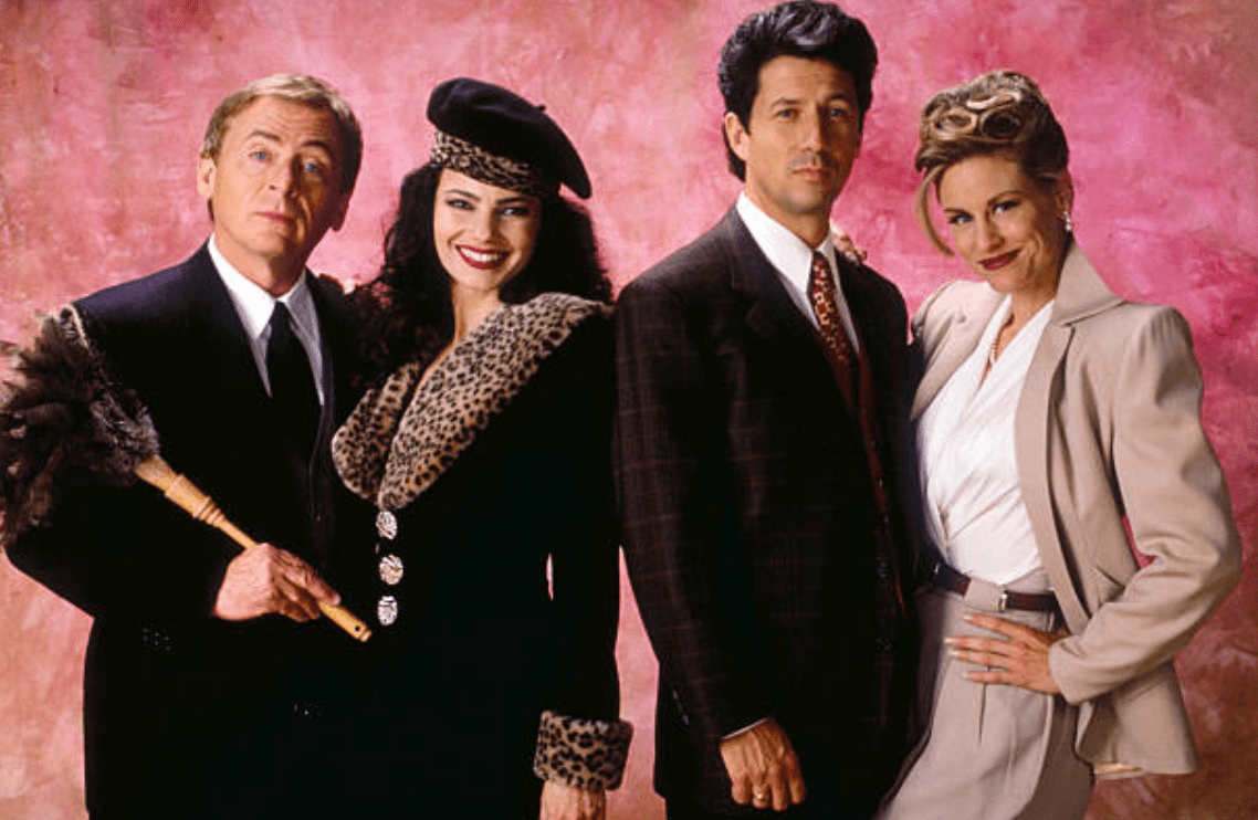 "The cast of ""The Nanny"" Daniel Davis; Fran Drescher; Charles Shaugnessy; Lauren Lane circa 1995 
