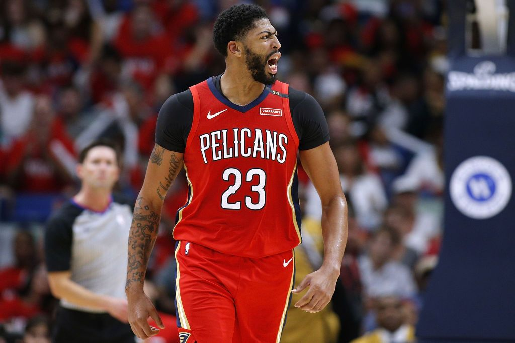 Anthony Davis #23 of the New Orleans Pelicans reacts during the first half against the Sacramento Kings at the Smoothie King Center on October 19, 2018 in New Orleans, Louisiana. | Source: Getty Images