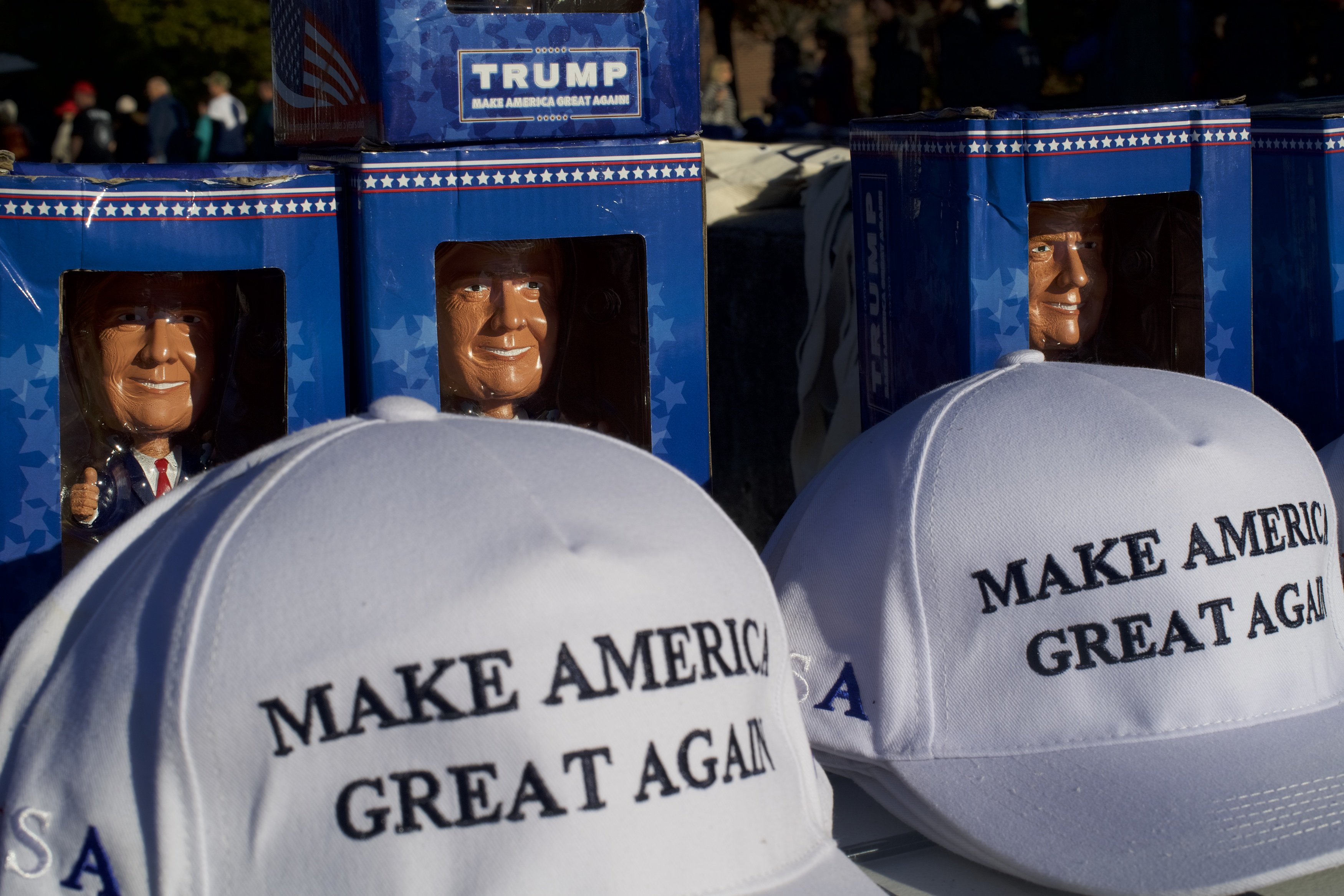 MAGA hats being sold at a campaign event in Hershey, Pennsylvania | Photo: Getty Images