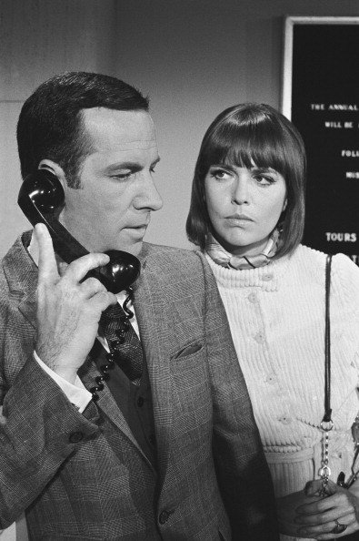"""Don Adams as Maxwell SMart and Barbara Feldon as Agent 99 on """"Get Smart,"""" circa 1960s. 