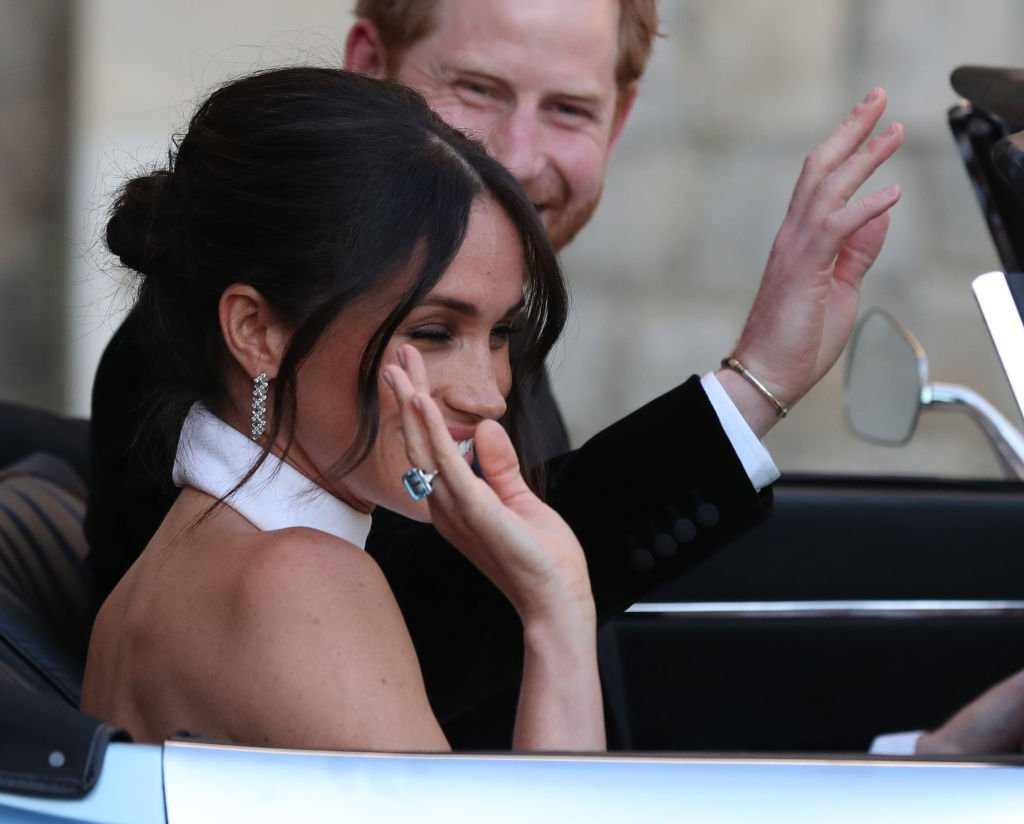 Meghan wore the aquamarine ring from Princess Diana's personal collection | Getty Images
