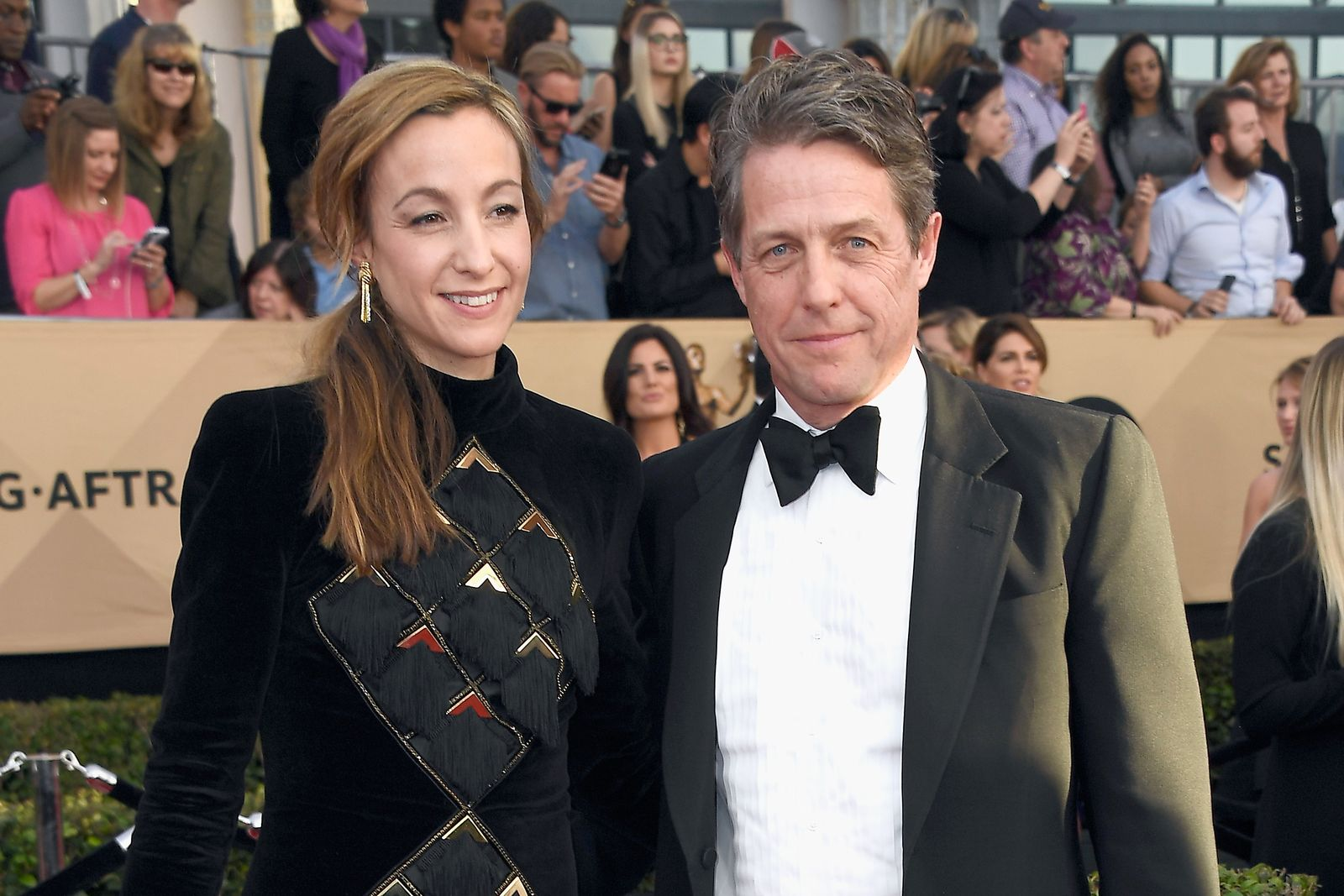 Anna Eberstein and actor Hugh Grant at the 23rd Annual Screen Actors Guild Awards at The Shrine Auditorium on January 29, 2017 | Photo: Getty Images