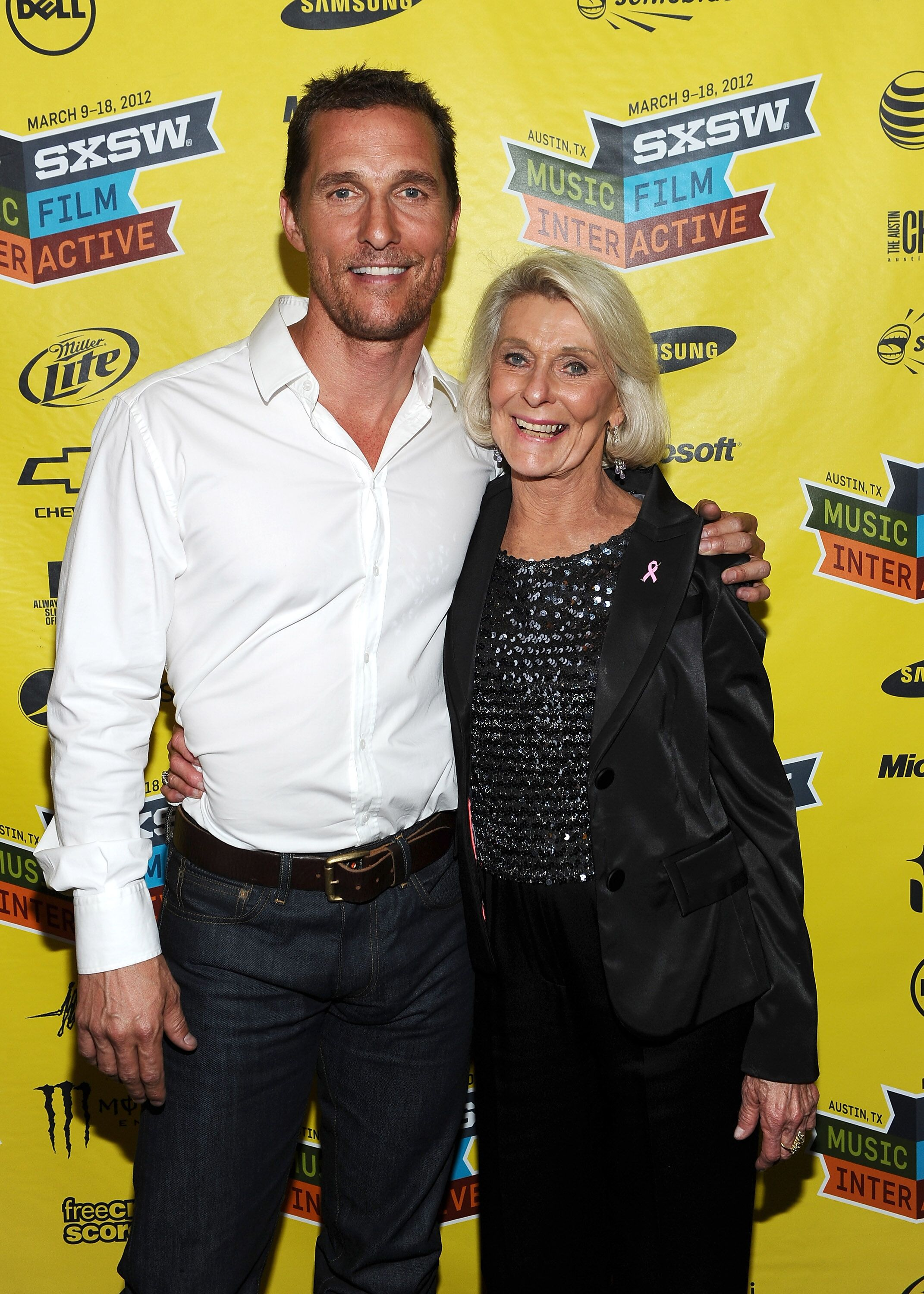 "Matthew McConaughey and his mother Kay at the world premiere of ""Bernie"" in Austin, Texas in 2012 