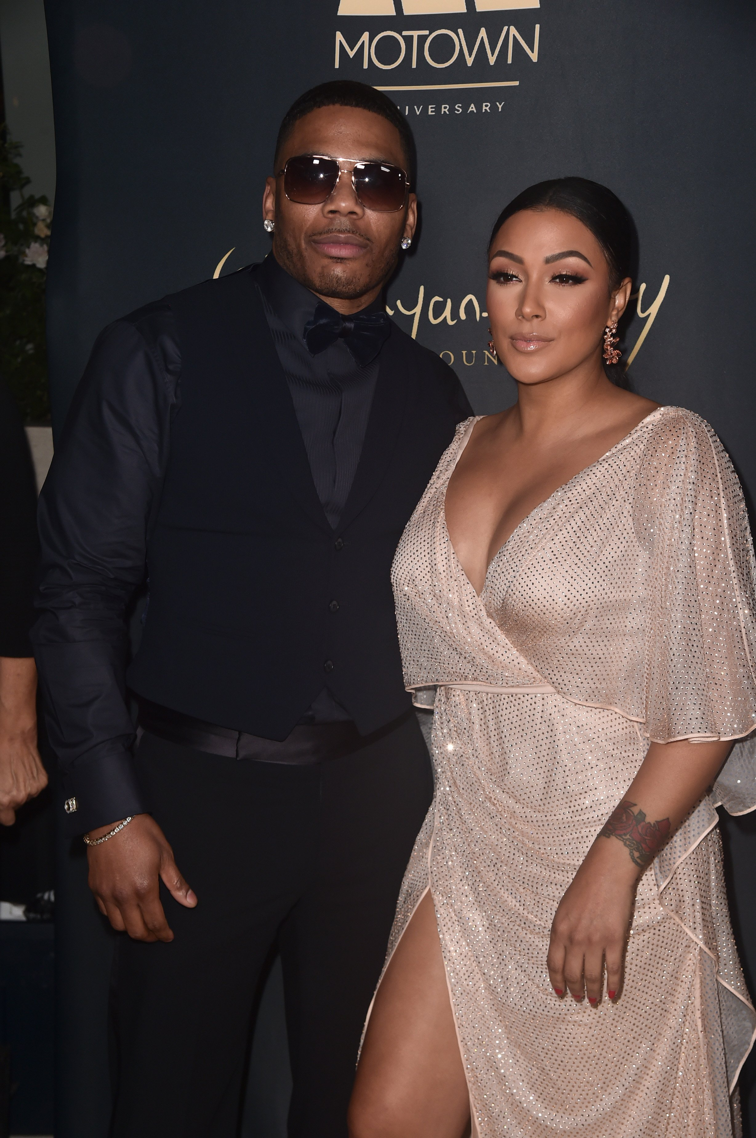 Nelly and Shantel Jackson at Waldorf Astoria Beverly Hills as the Ryan Gordy Foundation celebrates 60 Years of Motown on November 11, 2019 in California.| Source: Getty Images
