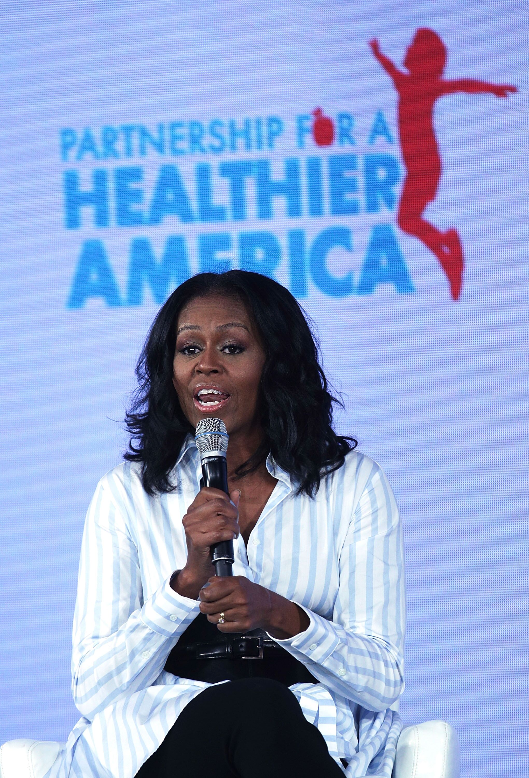 Michelle Obama speaks during the Partnership for a Healthier America Summit May 12, 2017 in Washington, DC   Photo: Getty Images