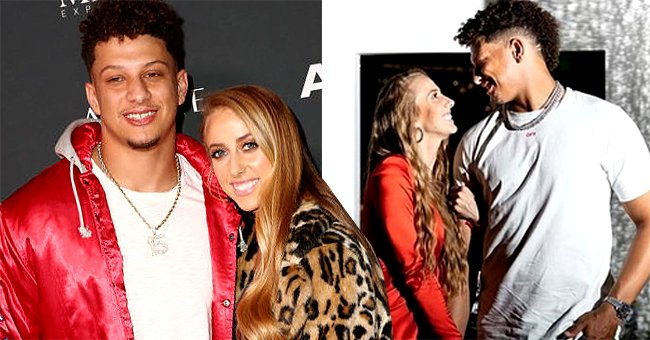 Patrick Mahomes II and Brittany Matthews attend The Maxim Big Game Experience at The Fairmont on February 02, 2019 in Atlanta, Georgia and the next images shows the engaged couple gazing at each other | Photo: Getty Images and Instagram/@patrickmahomes