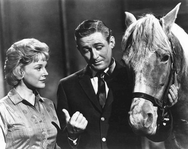"Connie Hines and Alan Young in ""Mister Ed"" in 1963. 