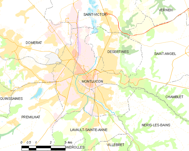 Carte des communes françaises: Montluçon. | Wikimedia Commons