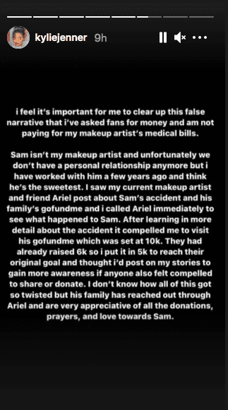 Kylie Jenner's detailed write-up letting her fans and critics alike know her part of the story. | Photo: Instagram / kyliejenner