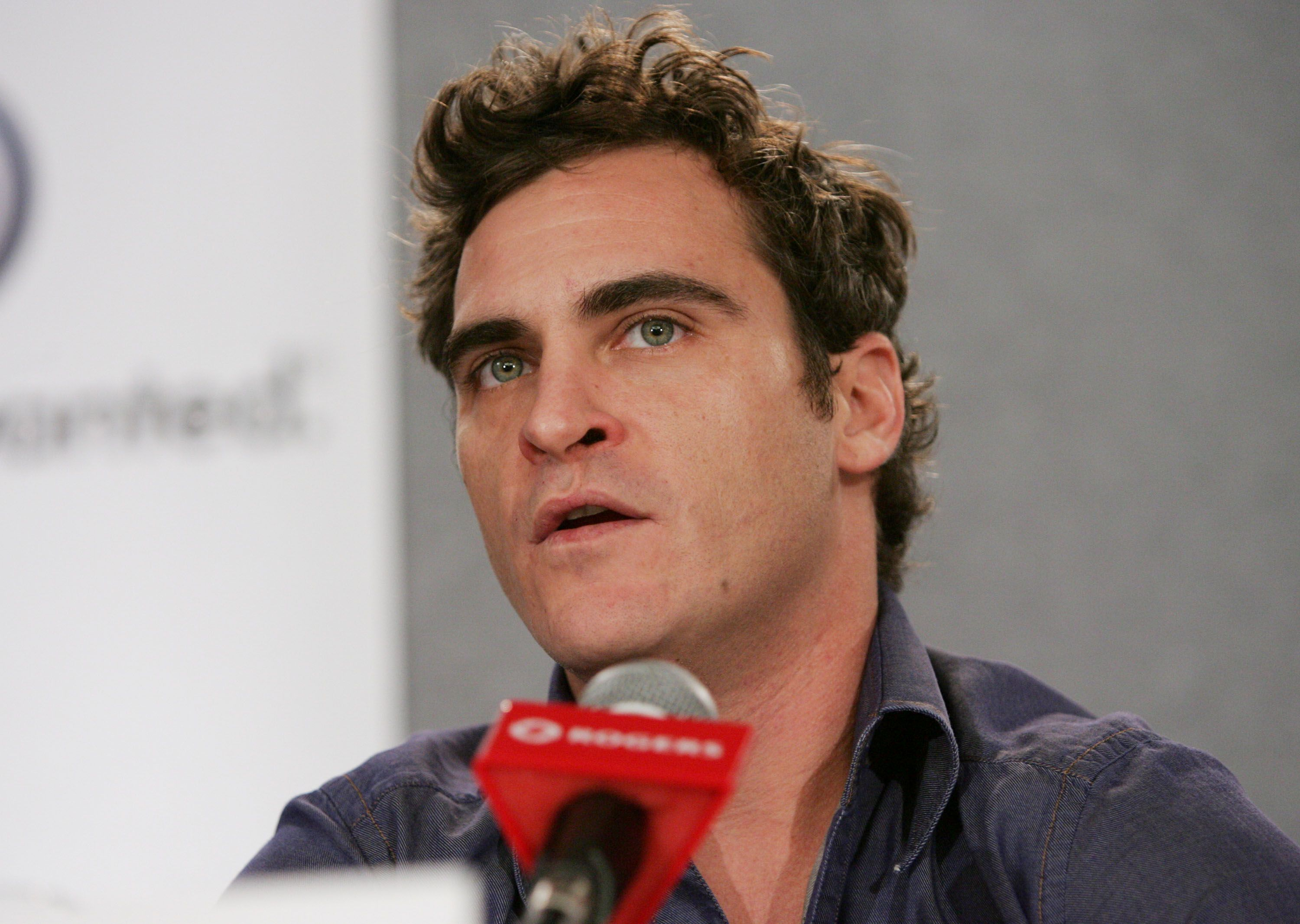 """TORONTO - SEPTEMBER 13: Actor Joaquin Phoenix attends the """"Walk The Line"""" press conference during the 2005 Toronto International Film Festival September 13, 2005 in Toronto, Ontario, Canada. 