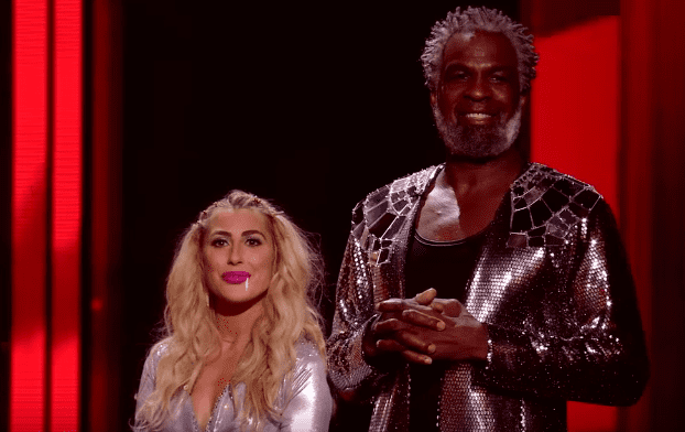 """Former NBA player Charles Oakley and his dance partner, Emma Slater, during the eviction show on """"Dancing With The Stars"""". 