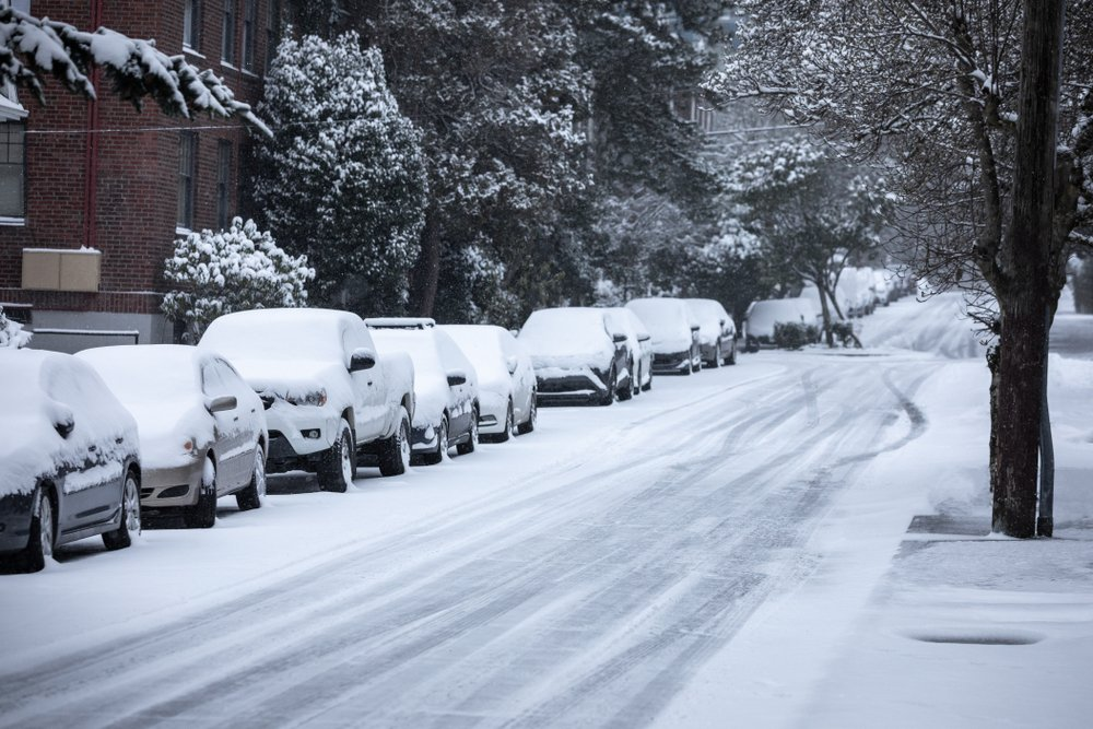 A street and lined vehicles covered in snow | Photo: Shutterstock